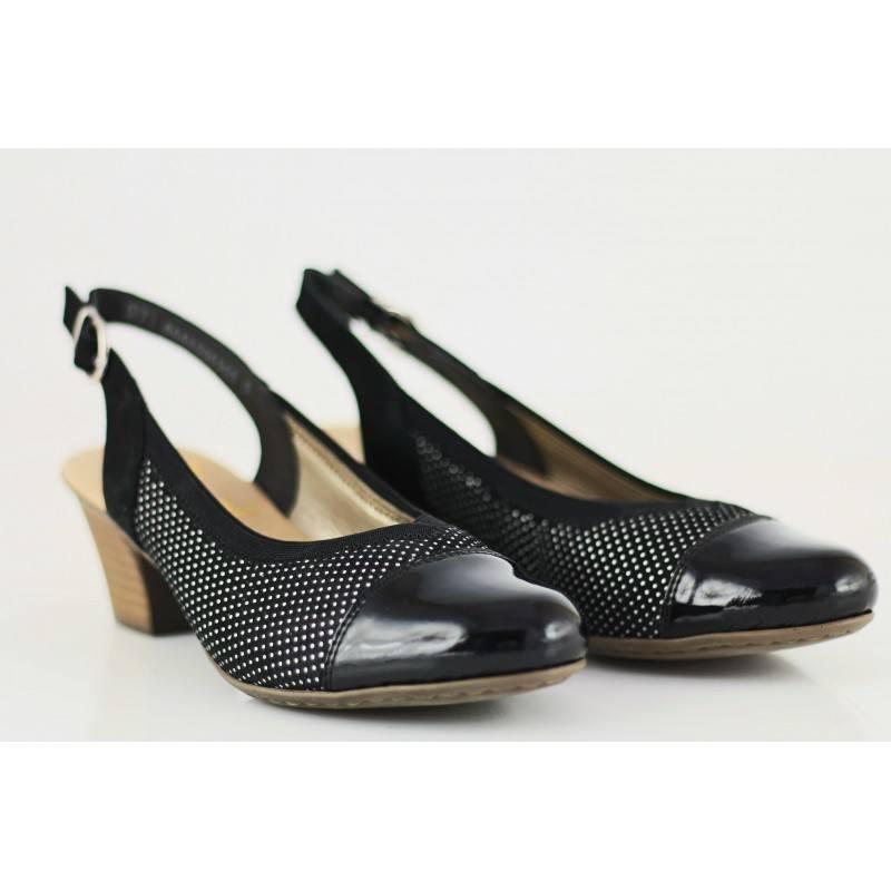 Дамски сандали на ток Rieker черни естествена кожа