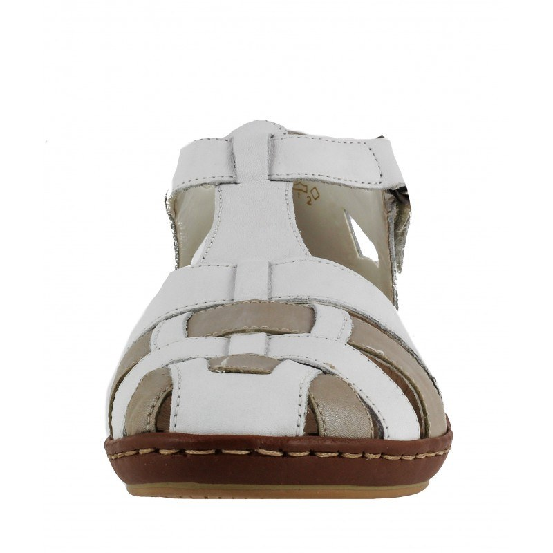 Дамски анатомични сандали от естествена кожа Rieker бели