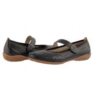 Дамски равни анатомични обувки с лепки Remonte естествена кожа черни