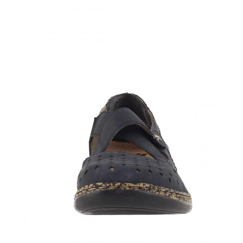 Дамски равни обувки естествена кожа Rieker ANTISTRESS сини