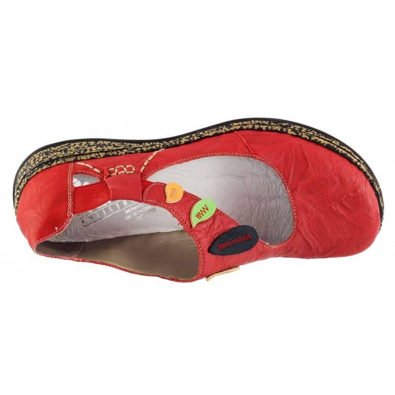 Дамски равни обувки естествена кожа Rieker червени