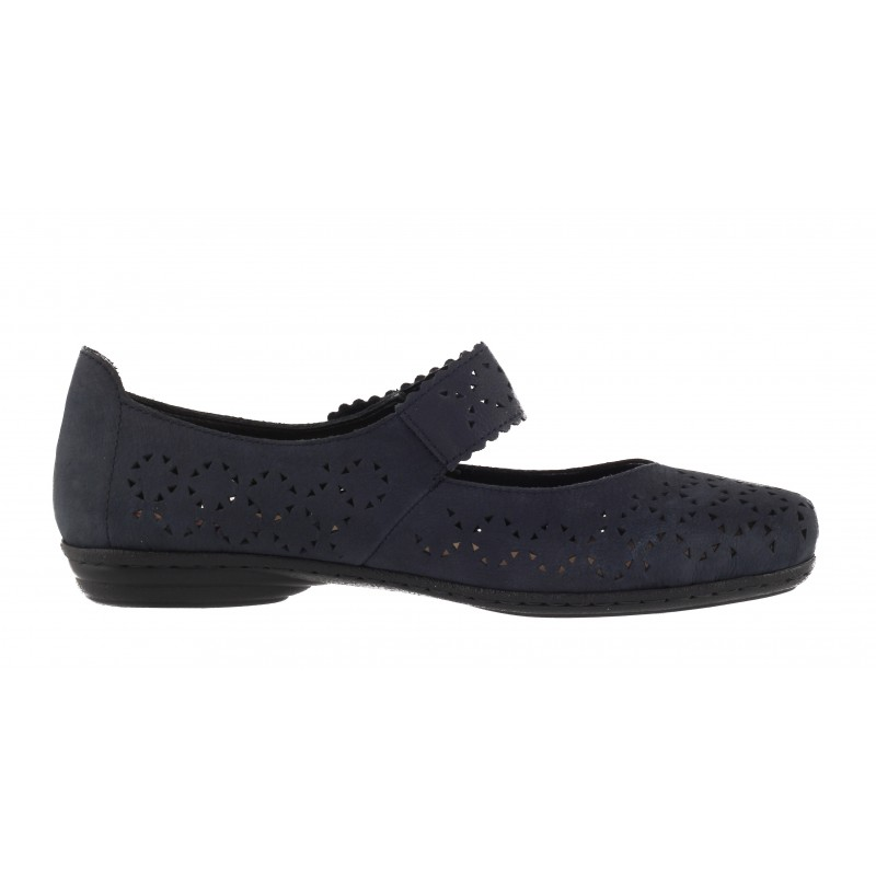 Дамски пролетни обувки с велкро закопчаване Rieker сини