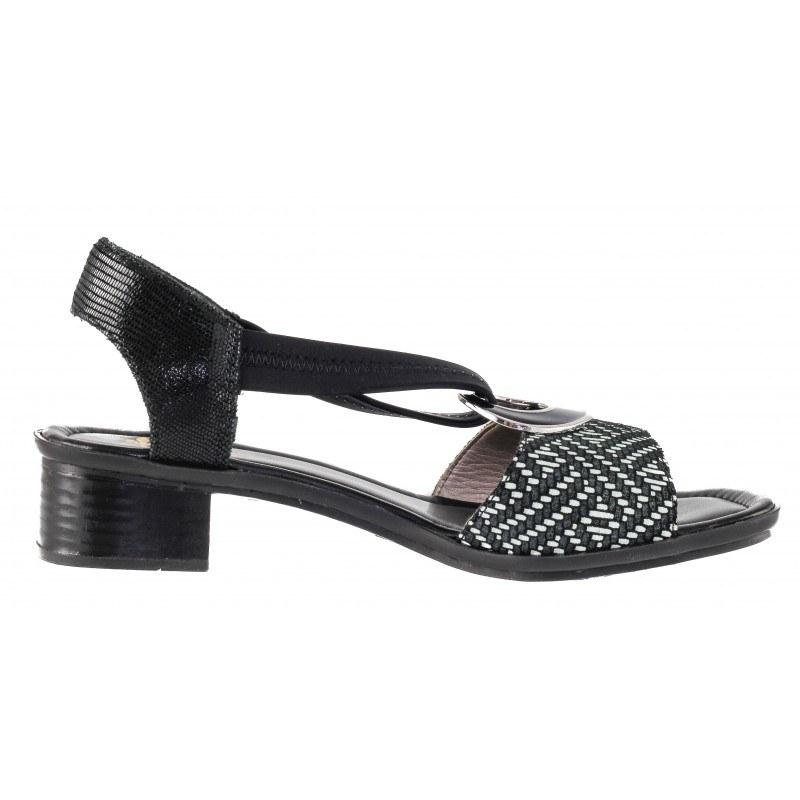 Дамски кожени сандали на ток Rieker черни/бели