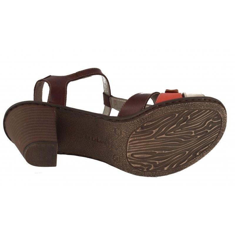 Дамски сандали на ток Rieker кафяв