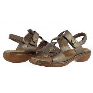 Дамски ортопедични сандали естествена кожа Rieker златисти