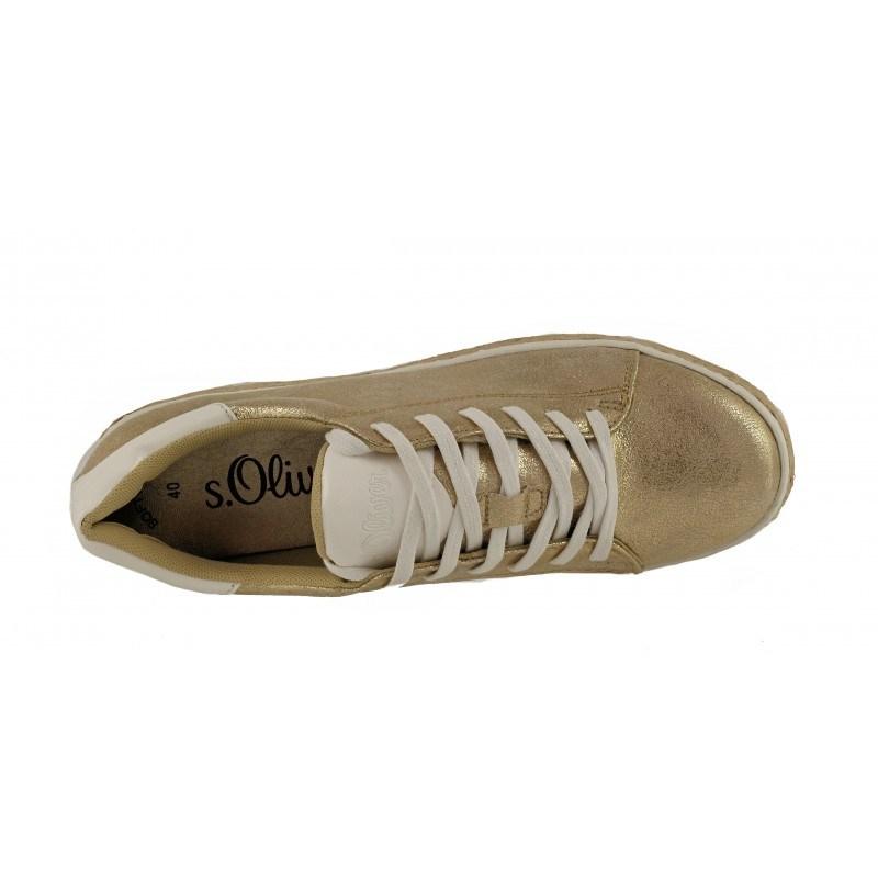 Дамски спортни обувки на платформа S.Oliver златисти мемори пяна