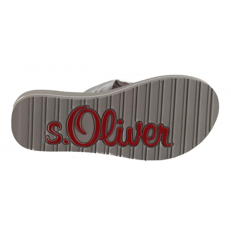 Дамски джапанки на платформа S.Oliver сребристи