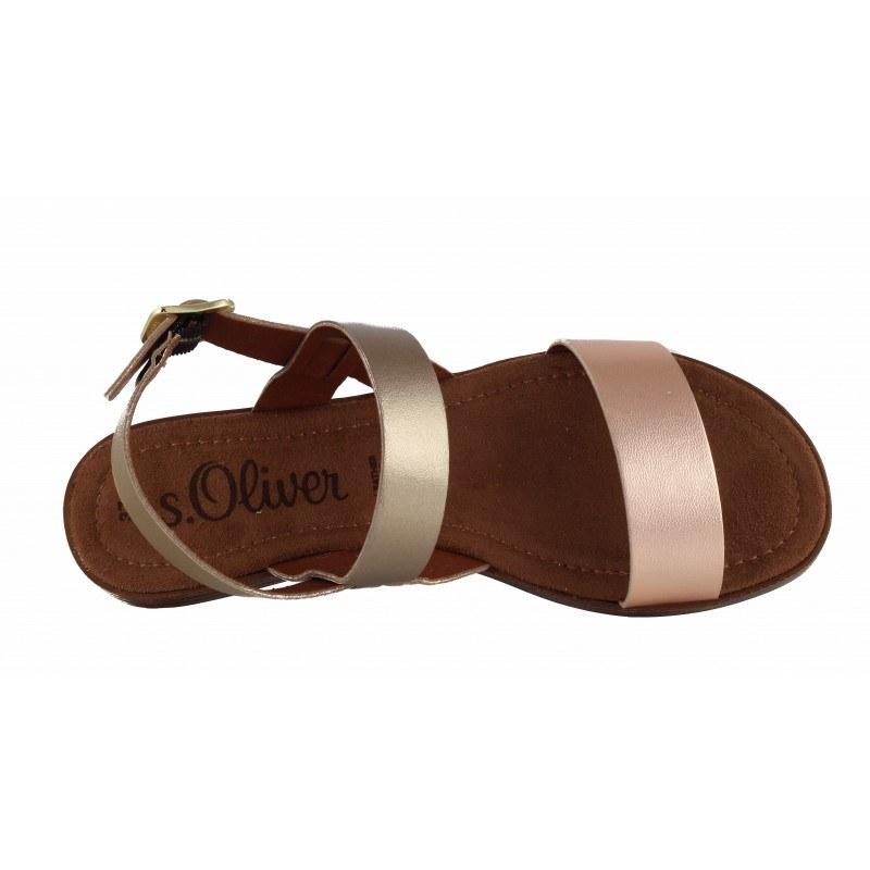 Дамски кожени равни сандали S.Oliver розов металик/златисти