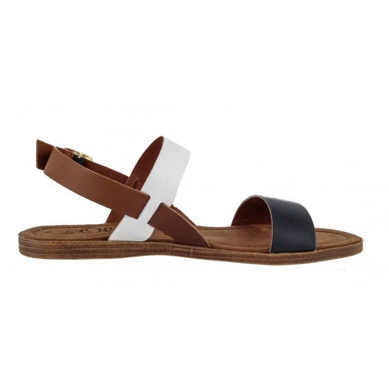 Дамски кожени равни сандали S.Oliver сини/бели