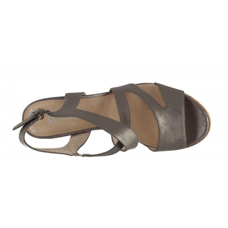 Дамски сандали на висок ток S.Oliver сребрист мемори пяна