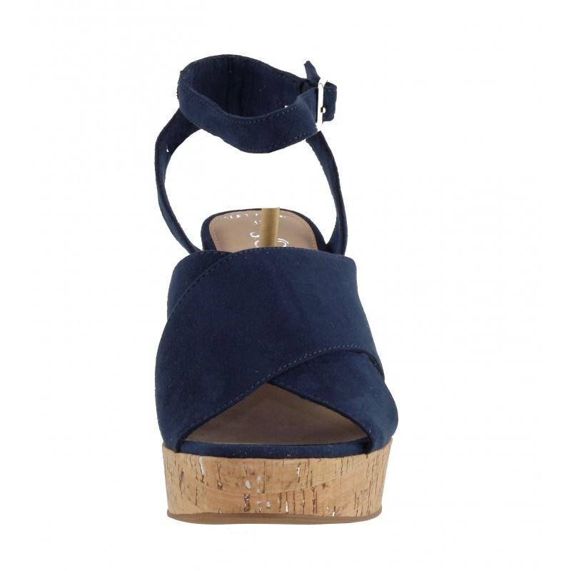 Дамски сандали на ток S.Oliver естествен велур сини