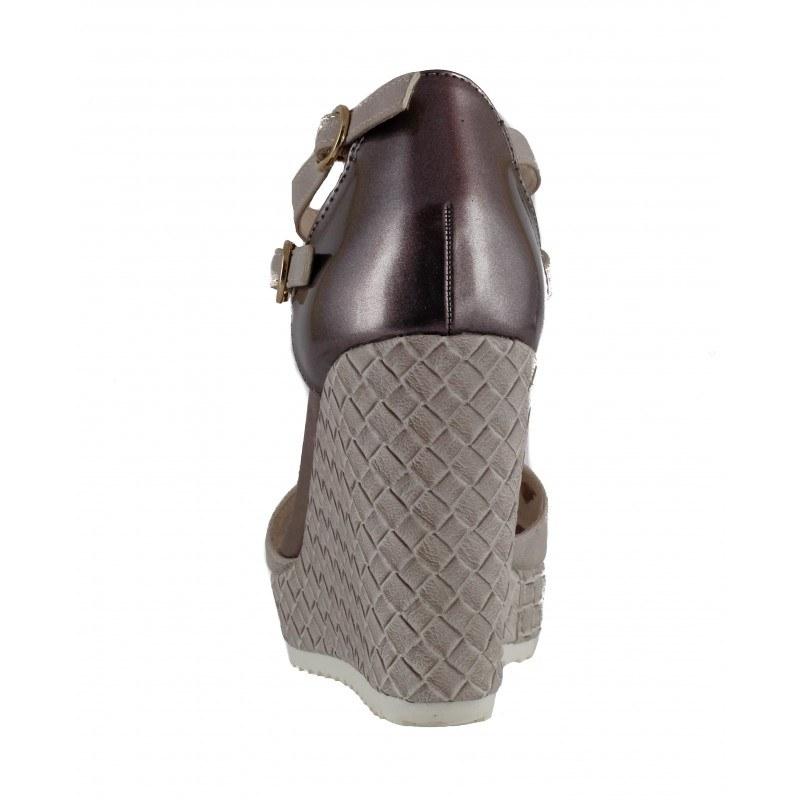 Дамски елегантни сандали на платформа S.Oliver сиви металик