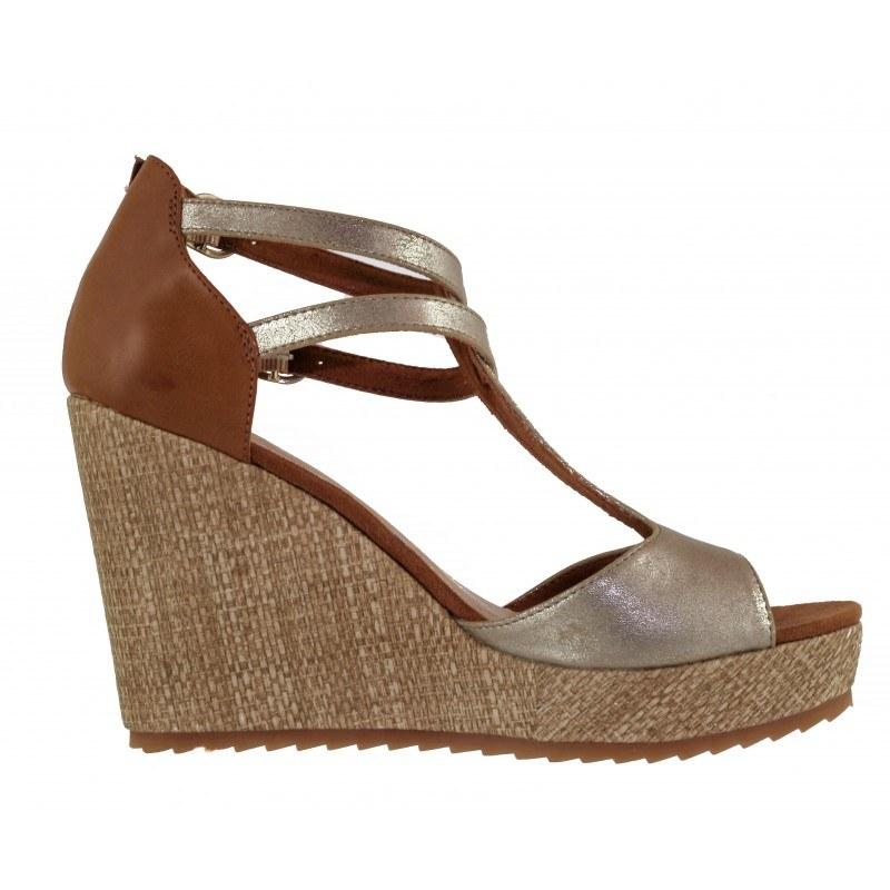 Дамски елегантни сандали на платформа S.Oliver кафяви/сребристи