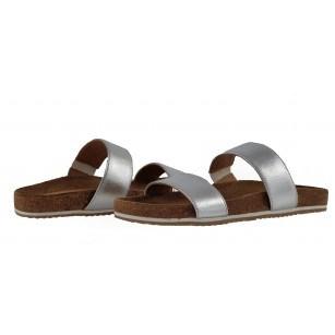 Дамски ортопедични чехли от естествена кожа Salamander сребристи