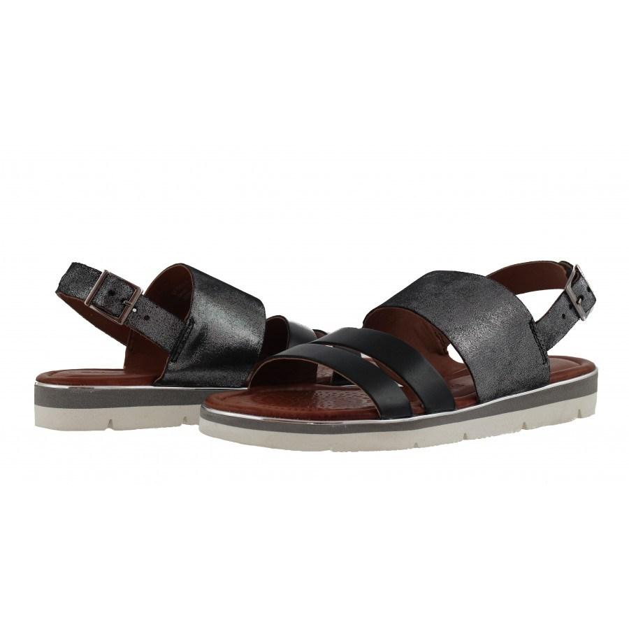 Дамски равни кожени сандали Salamander черни
