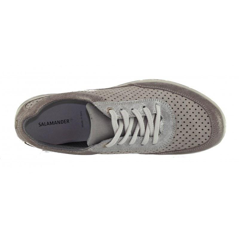 Дамски спортни обувки от естествена кожа Salamander сиви/металик
