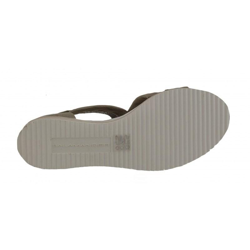 Дамски равни кожени сандали Salamander бежови металик