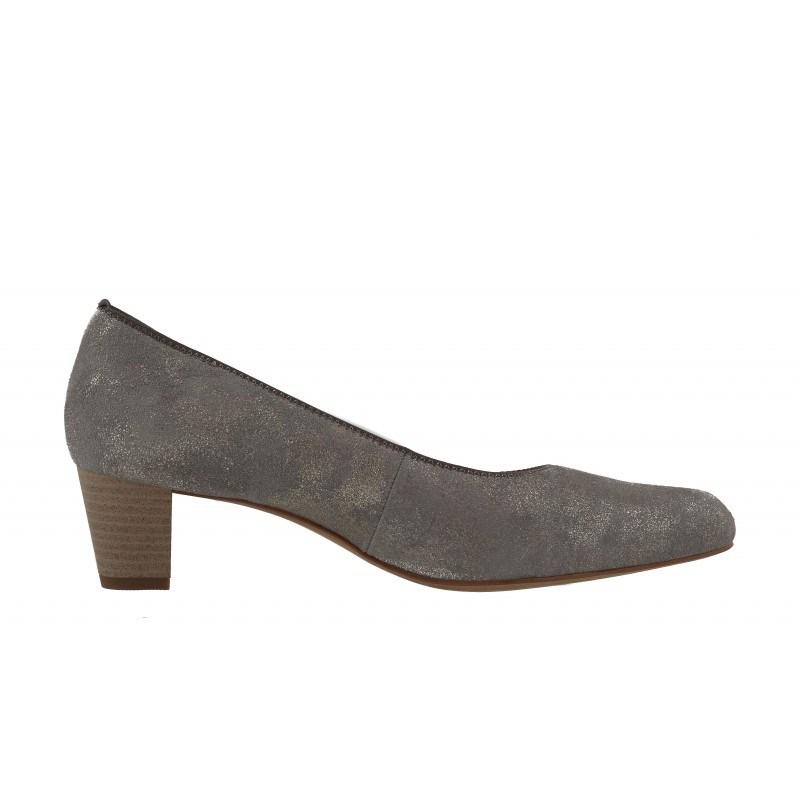 Дамски кожени обувки Salamander сиви с щампа металик