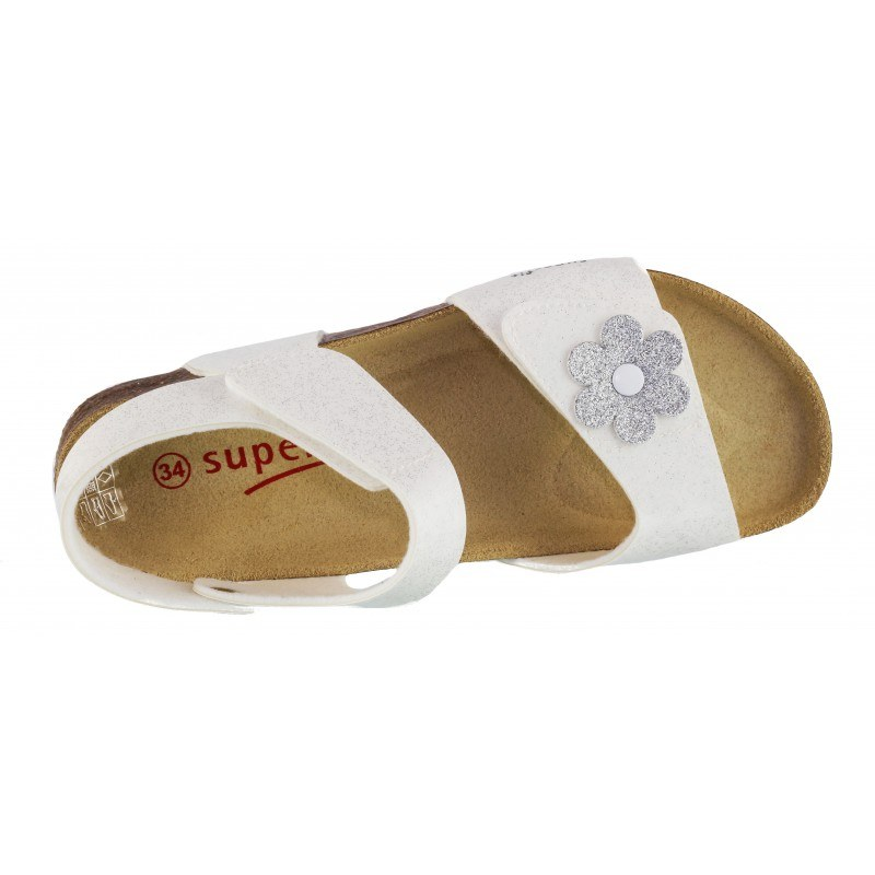 Ортопедични детски сандали за момиче Superfit бели/брокат 24/35
