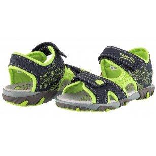 Ортопедични сандали Superfit черни за момче зелени/сиви 25/35