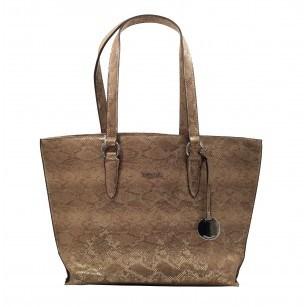 Голяма дамска чанта Tamaris златиста със змийски принт