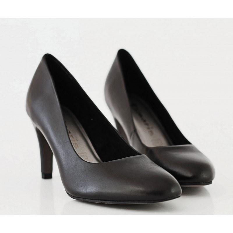 Дамски кожени обувки на ток Tamaris черни
