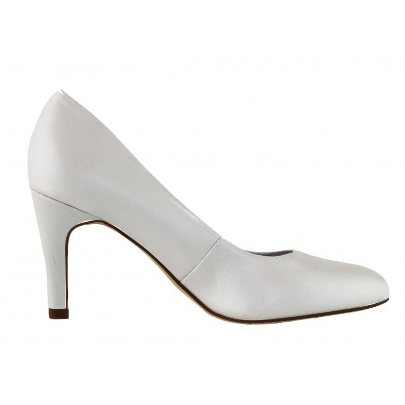 Дамски кожени обувки на висок ток Tamaris бели