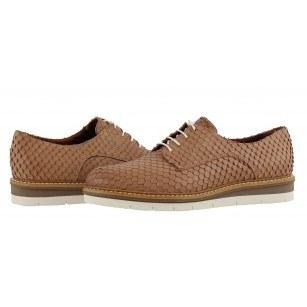 Дамски равни обувки от естествена кожа Tamaris кафяви
