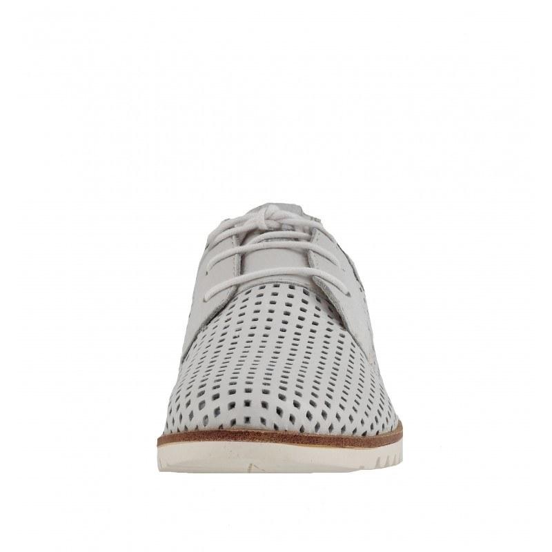 Дамски равни обувки перфорирани Tamaris естествена кожа сини мемори пяна