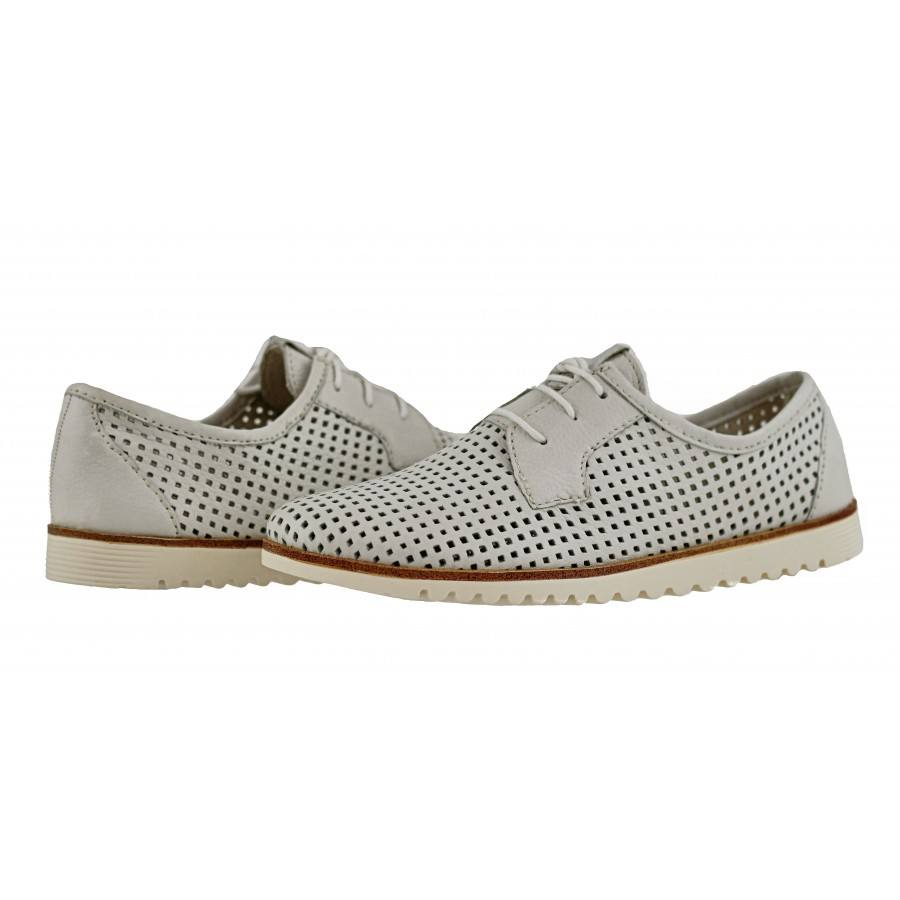 8f7c376060d Дамски равни обувки перфорирани Tamaris естествена кожа бели мемори пяна