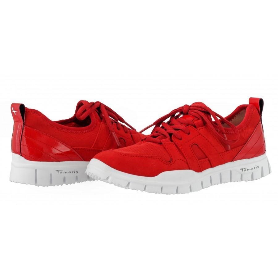 Дамски спортни обувки с връзки Tamaris червени сангриа YOGA-IT