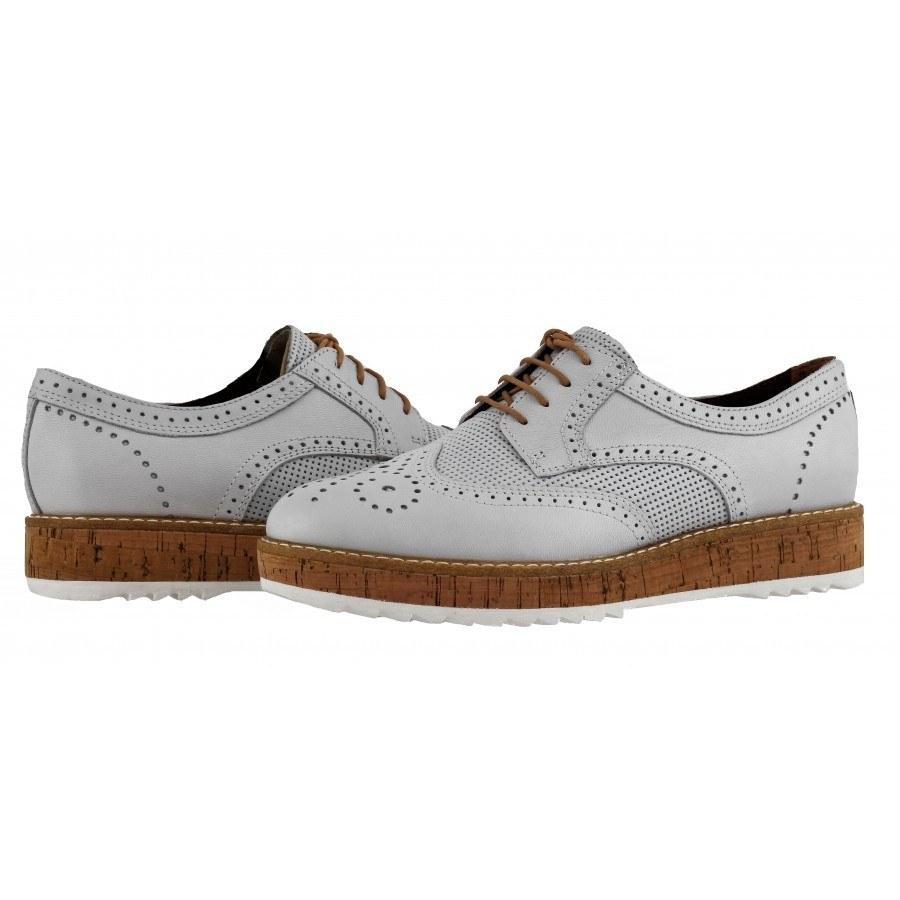 Дамски спортно-елегантни обувки от естествена кожа Tamaris бели мемори пяна
