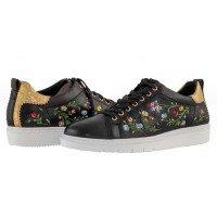 Дамски спортни обувки с връзки Tamaris етно черни мемори пяна