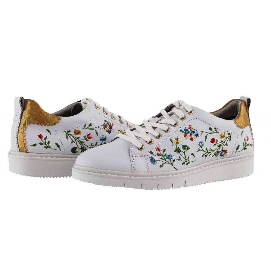 Дамски спортни обувки с връзки Tamaris етно бели мемори пяна