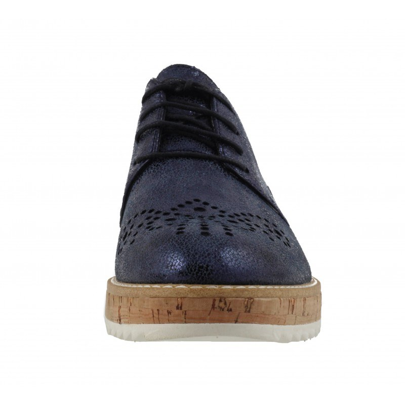 Дамски спортно-елегантни обувки на платформа Tamaris сини мемори пяна