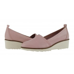 Дамски обувки от естествена кожа на платформа Tamaris розови мемори пяна
