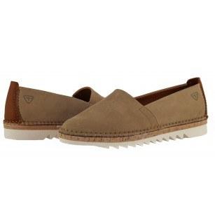 Дамски равни кожени обувки Tamaris бежови