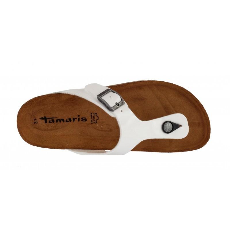 Дамски анатомични чехли с мемори пяна Tamaris бели