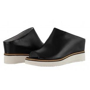 Дамски чехли на платформа Tamaris естествена кожа мемори пяна златисти