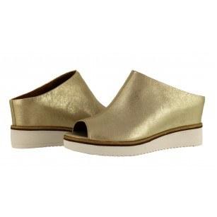 Дамски чехли на платформа Tamaris естествена кожа мемори пяна сребристи