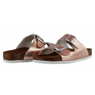Дамски анатомични чехли с мемори пяна Tamaris розов металик