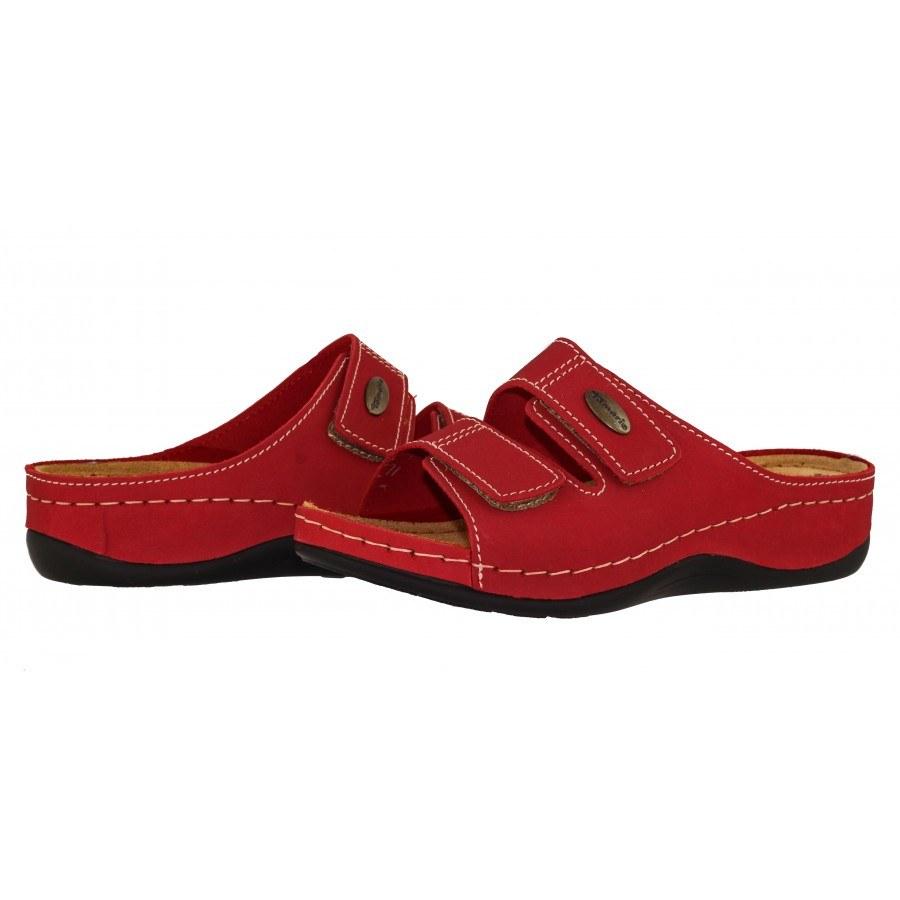 Ортопедични дамски чехли естествена кожа Tamaris червени