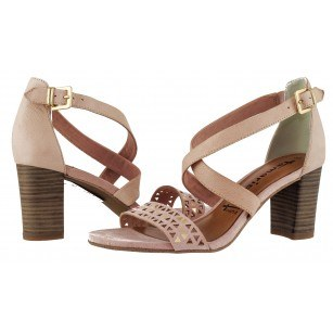 Дамски сандали на ток Tamaris естествена кожа розови мемори пяна ANTISHOKK®
