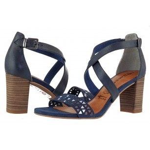 Дамски сандали на ток Tamaris естествена кожа сини мемори пяна ANTISHOKK®