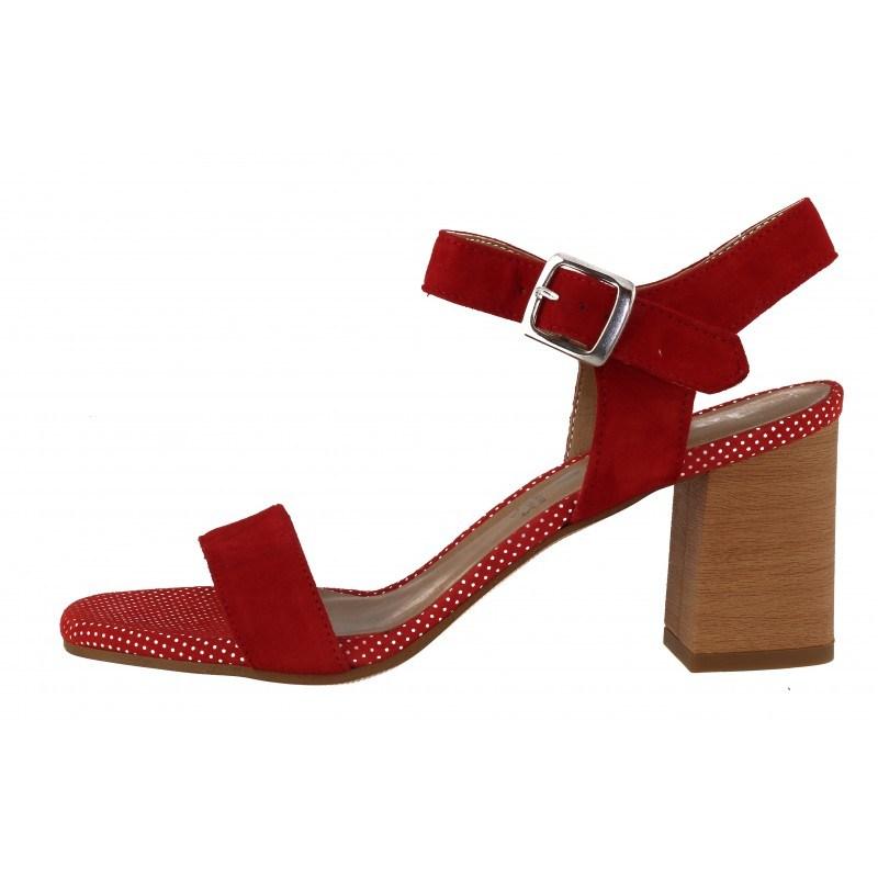 Дамски елегантни сандали с дебел ток Tamaris червени