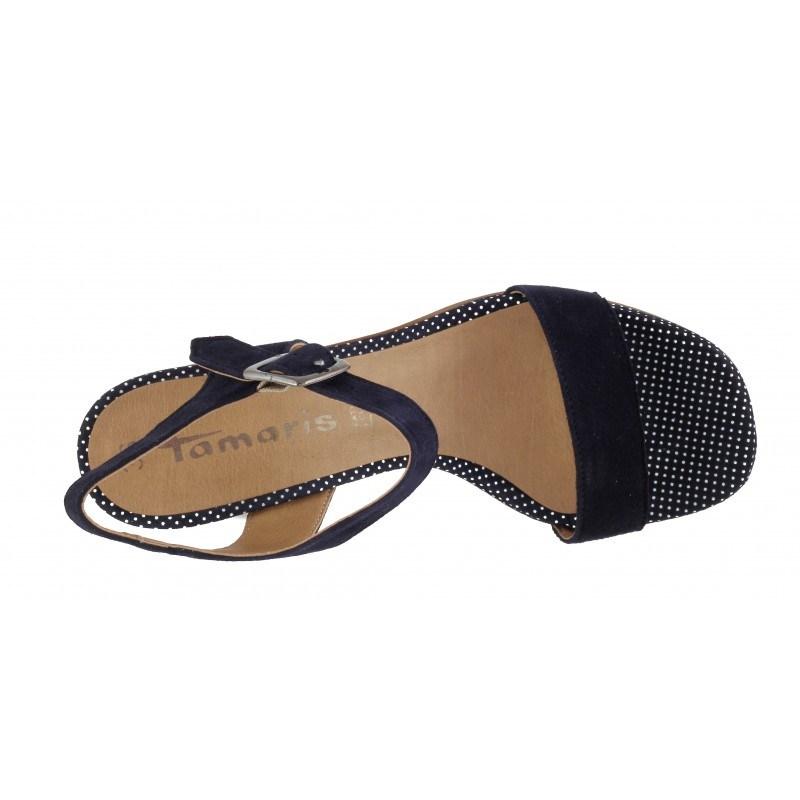 Дамски елегантни сандали на ток Tamaris тъмно сини