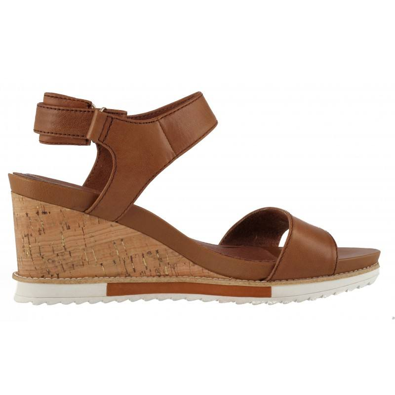 Дамски сандали на платформа Tamaris естествена кожа кафяви
