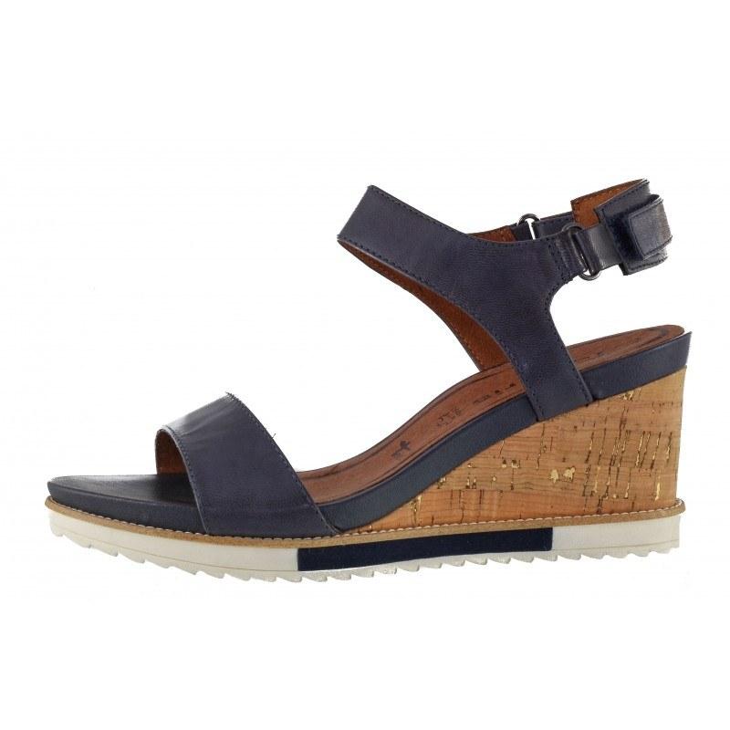 Дамски сандали на платформа Tamaris естествена кожа сини