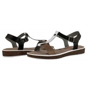 Дамски сандали от естествена кожа Tamaris черни/комби мемори пяна