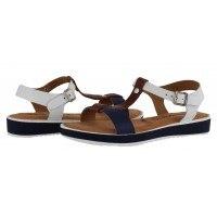 Дамски сандали от естествена кожа Tamaris бели/сини мемори пяна